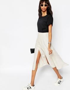 Мягкая юбка миди с запахом и разрезом ASOS - Mink