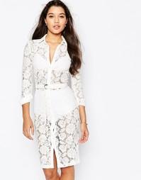 Кружевное платье-рубашка миди на пуговицах Missguided - Кремовый