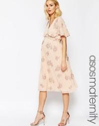 Платье миди для беременных с рукавом-бабочкой и цветочным принтом ASOS