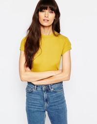 Полупрозрачная футболка в рубчик Weekday - Горчичный