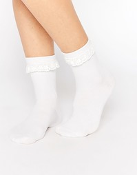 Носки с оборками Monki - Белый