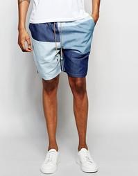 Джинсовые лоскутные шорты The New County - Синий