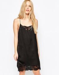 Платье с кружевной отделкой Selected Love - Черный