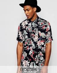 Рубашка прямого классического кроя с цветочным принтом Reclaimed Vinta