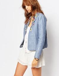 Стеганая джинсовая куртка с бисером Pepe Jeans - Выбеленный синий
