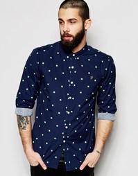 Рубашка приталенного кроя c принтом в горошек Farah - Темно-синий