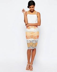 Кружевная юбка-карандаш в разноцветную полоску ASOS - Мульти