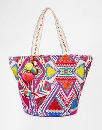 Пляжная сумка с ацтекским узором и помпонами ASOS - Мульти
