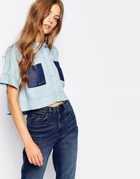 Укороченная рубашка с контрастными карманами Waven Daisi - Синий