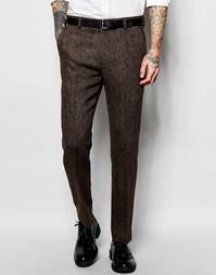 Коричневые твидовые брюки кроя слим ASOS - Коричневый