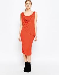Платье с запахом спереди Love - Красно-бурый