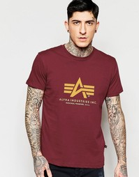 Бордовая футболка с логотипом Alpha Industries - Burgundy