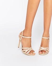 Нюдовые сандалии на каблуке со змеиным эффектом Head over Heels By Dun