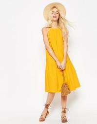 Ярусный льняной сарафан миди ASOS - Желтый