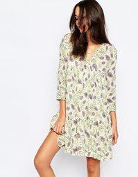 Платье с принтом в стиле фолк BA&SH Naouel - Светло-бежевый Ba&;Sh