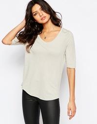 Меланжевая льняная футболка Y.A.S - Светло-серый