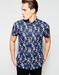 Рубашка с пальмовым принтом Threadbare Bletchley - Темно-синий