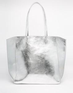 Сумка-шоппер цвета металлик ASOS - Серебряный