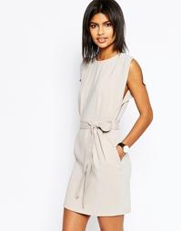 Платье мини с поясом, разрезами на коротких рукавах и юбкой-карандаш A Asos