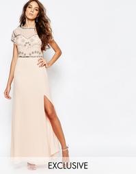 Платье макси с глубоким разрезом и отделкой Frock and Frill