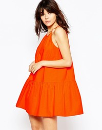 Льняной сарафан на завязке ASOS - Оранжевый