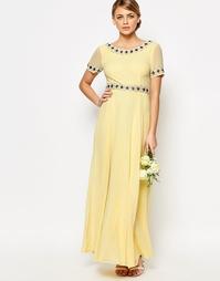 Платье макси с пышной юбкой и отделкой Maya - Пастельно-желтый