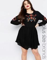 Платье размера плюс с вышивкой в народном стиле Missguided Plus