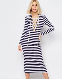 Платье с принтом в полоску и шнуровкой House of Holland - Темно-синий