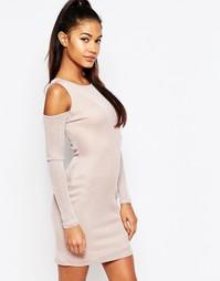 Платье мини с глубоким вырезом и открытыми плечами Ariana Grande For L Lipsy