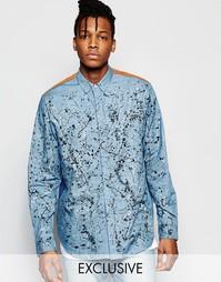 Джинсовая рубашка классического кроя с брызгами краски The New County