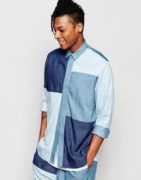 Джинсовая рубашка классического кроя в стиле пэчворк The New County
