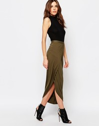 Трикотажная юбка макси с разрезом спереди Sisley - 35a karki