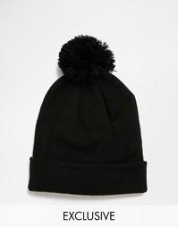 Черная шапка-бини с помпоном Reclaimed Vintage - Черный