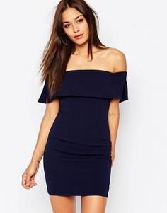 Облегающее платье мини с открытыми плечами Missguided - Темно-синий