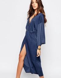 Платье миди с V-образным вырезом First & I - Темно-синий