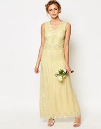 Платье макси с отделкой Maya Vintage - Пастельно-желтый