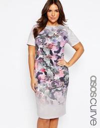 Облегающее платье миди с принтом и эффектом омбре ASOS CURVE - Принт