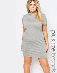 Платье-свитшот с капюшоном Boohoo Plus - Серый меланж