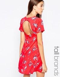 Чайное платье с открытой спинкой Influence Tall - Красный