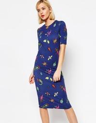 Платье миди с принтом жуков House of Holland - Темно-синий