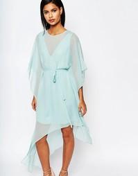 Асимметричное платье мини с оборками BCBGMaxAzria - Aqua