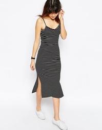 Платье-сорочка длины миди в полоску и рубчик ASOS - Мульти