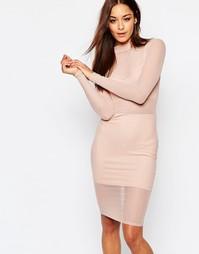 Облегающее сетчатое платье с высоким воротом Missguided - Телесный