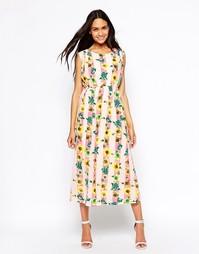 Платье макси в полоску с цветочным принтом Jovonna - Цветочный