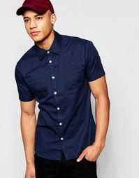 Саржевая рубашка с короткими рукавами D-Struct - Темно-синий