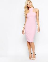 Облегающее платье миди с Т-образным ремешком на шее AX Paris - Розовый