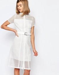 Кружевное платье-футболка с поясом Lost Ink - Белый
