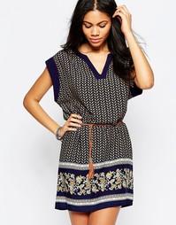 Платье-туника с принтом и поясом Brave Soul - Синий