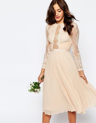 Плиссированное платье миди с кружевом с ресничками ASOS WEDDING