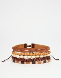 Набор кожаных браслетов и браслетов из бусин ASOS - Коричневый